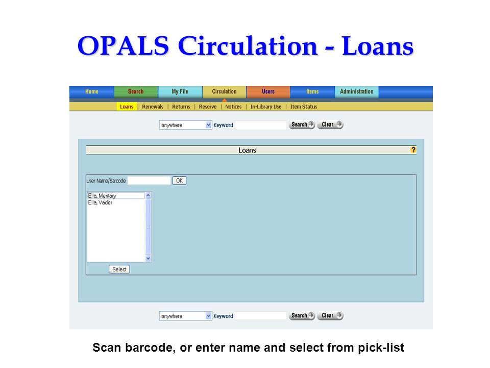 OPALS Circulation - Loans