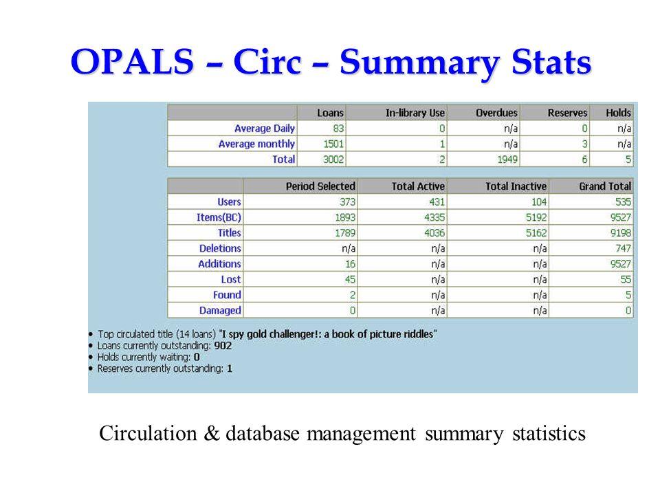 OPALS – Circ – Summary Stats