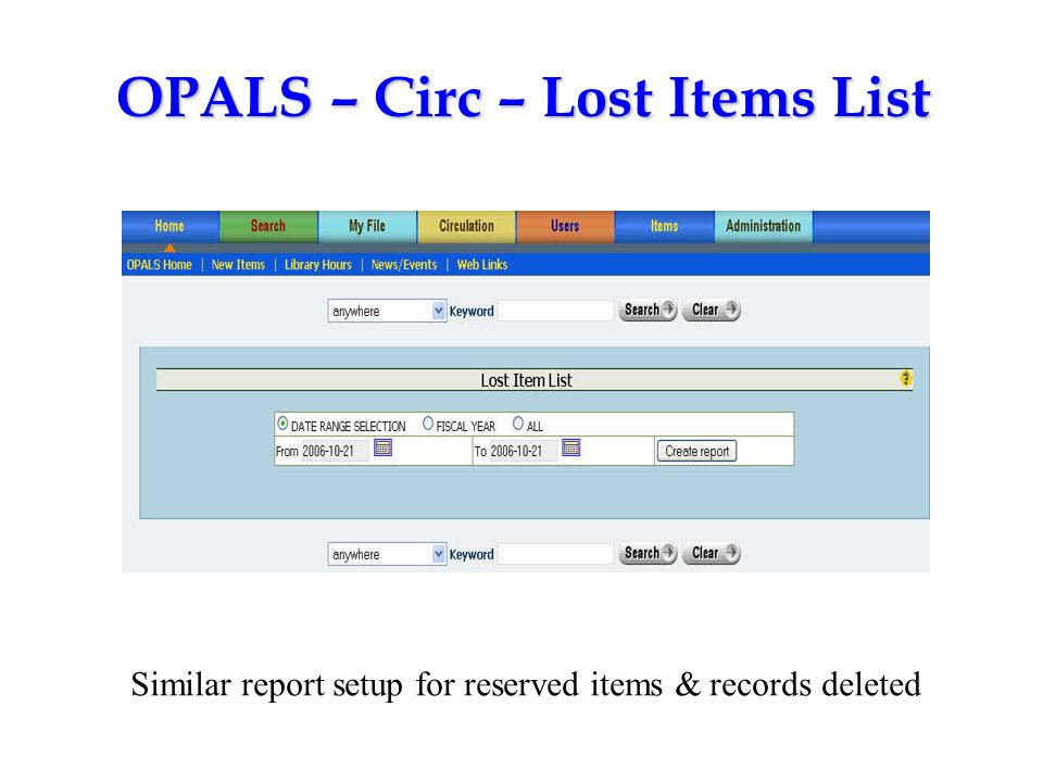 OPALS – Circ – Lost Items List