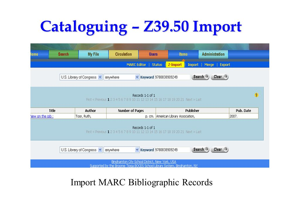 Import MARC Bibliographic Records