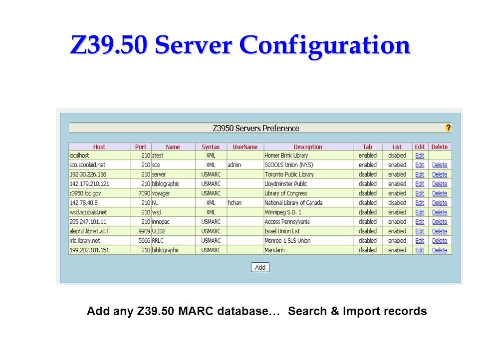 Z39.50 Server Configuration
