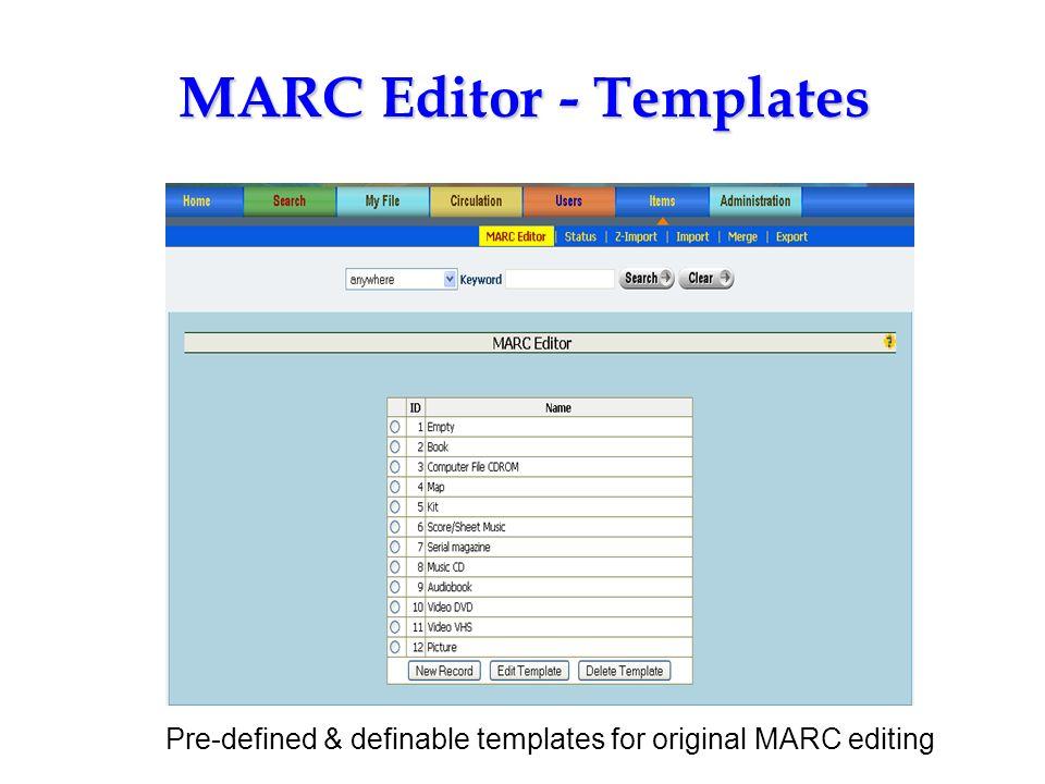 MARC Editor - Templates