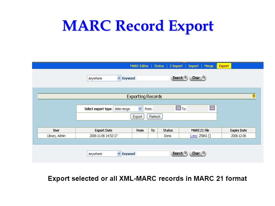 Export selected or all XML-MARC records in MARC 21 format