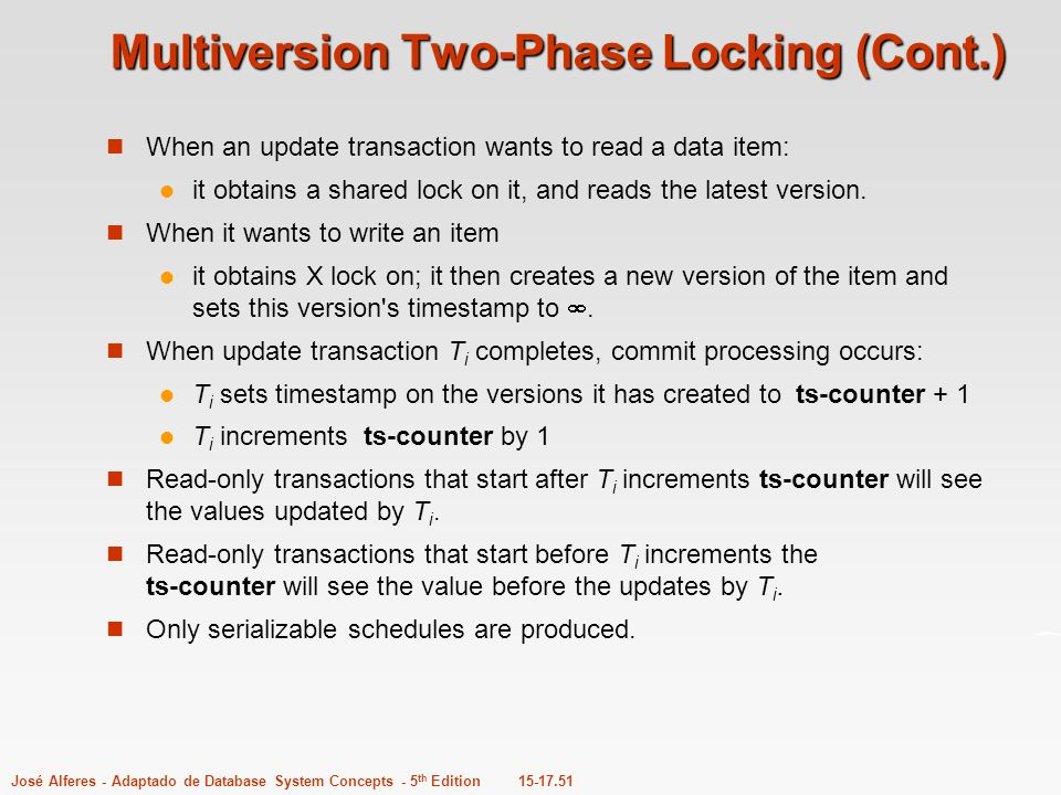 Multiversion Two-Phase Locking (Cont.)