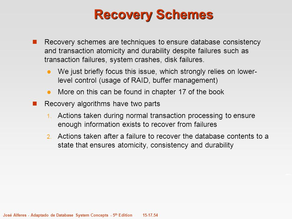 Recovery Schemes