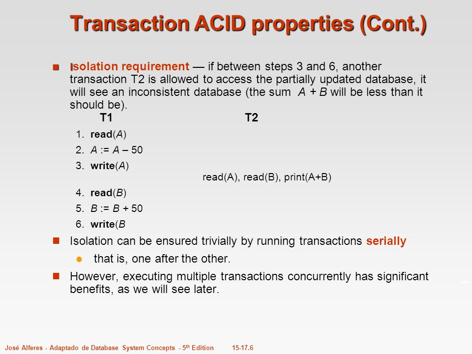 Transaction ACID properties (Cont.)