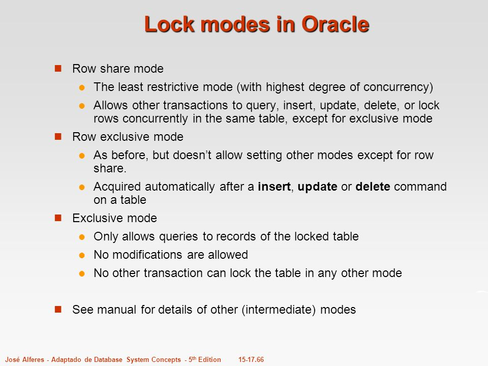Lock modes in Oracle Row share mode