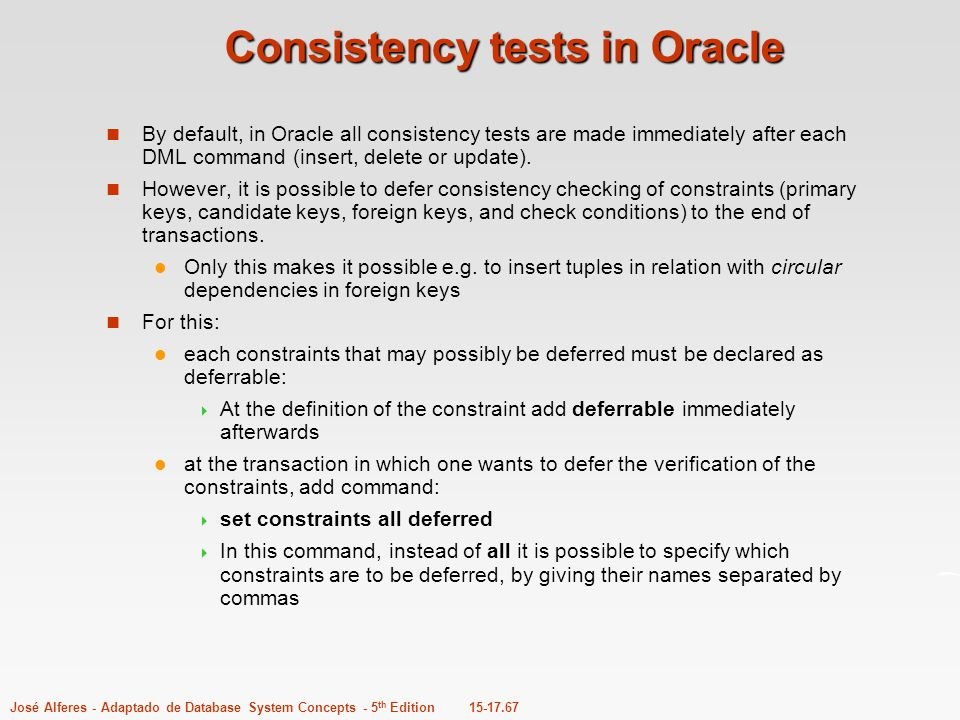 Consistency tests in Oracle