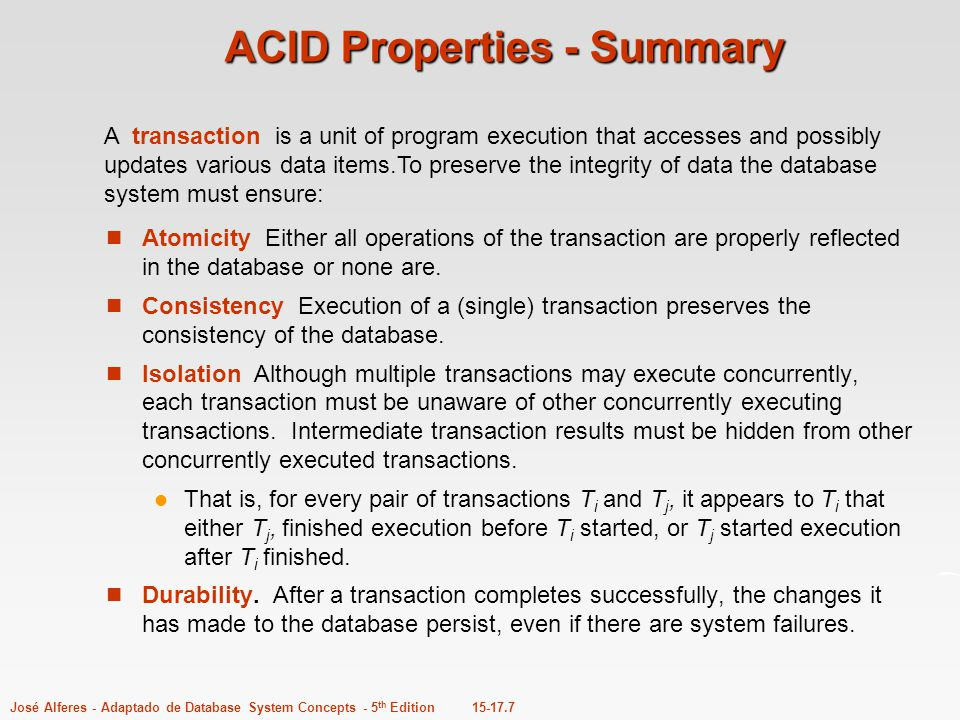 ACID Properties - Summary