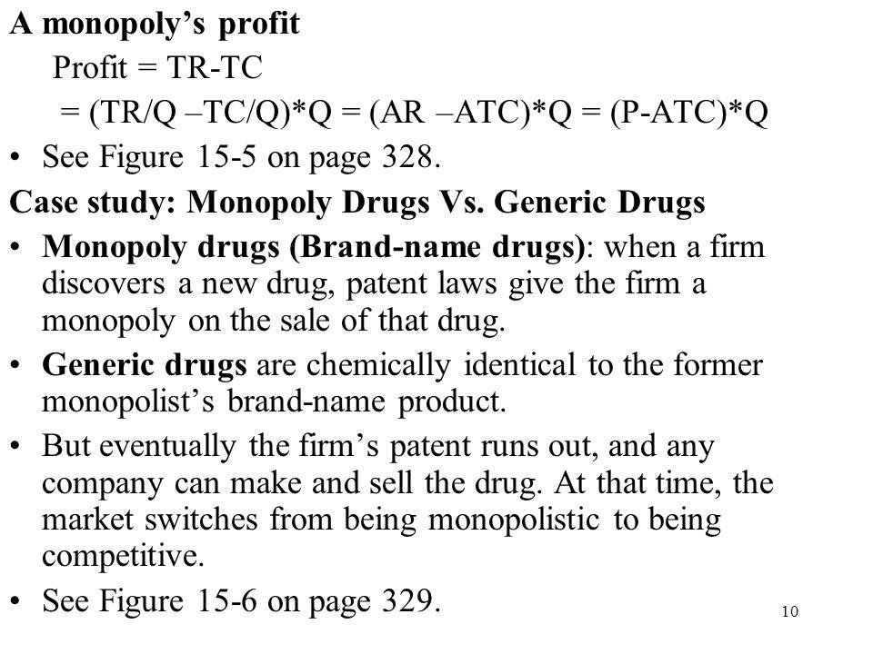A monopoly's profit Profit = TR-TC. = (TR/Q –TC/Q)*Q = (AR –ATC)*Q = (P-ATC)*Q. See Figure 15-5 on page 328.