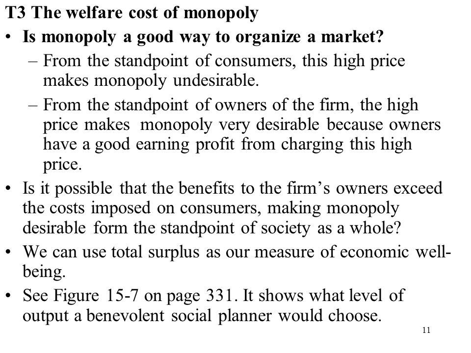 T3 The welfare cost of monopoly