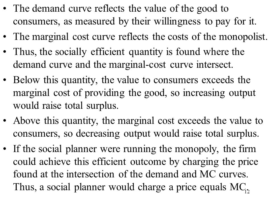 The demand curve reflects the value of the good to consumers, as measured by their willingness to pay for it.