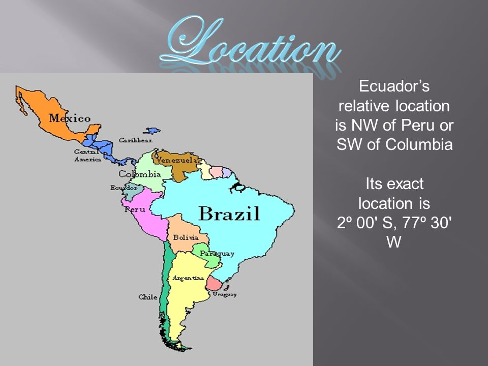 Ecuador's relative location is NW of Peru or SW of Columbia