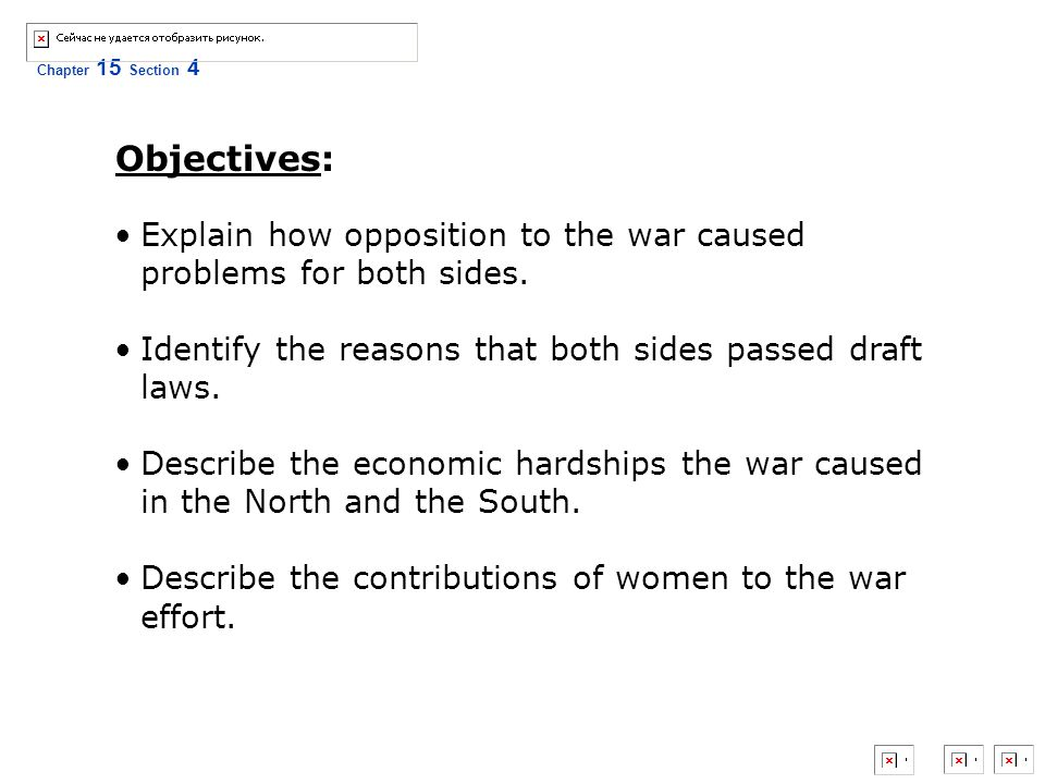 Objectives: Explain how opposition to the war caused problems for both sides. Identify the reasons that both sides passed draft laws.