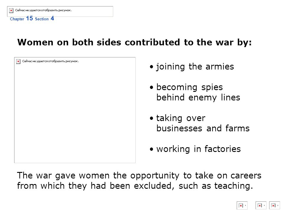 Women on both sides contributed to the war by: