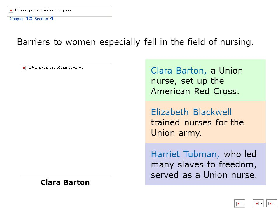 Barriers to women especially fell in the field of nursing.