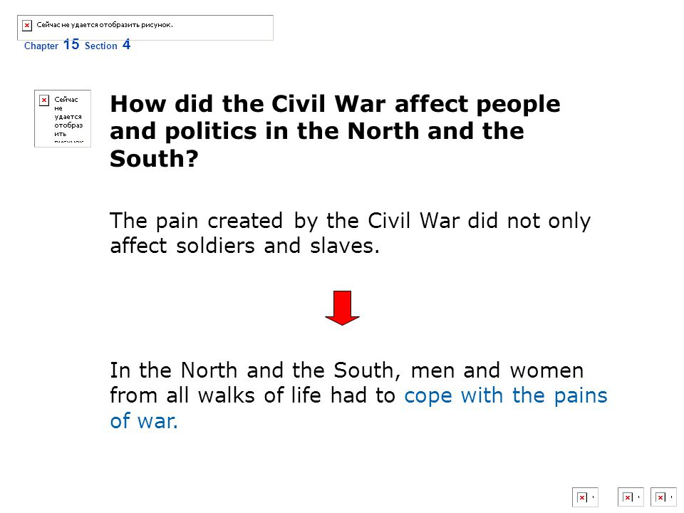 How did the Civil War affect people and politics in the North and the South
