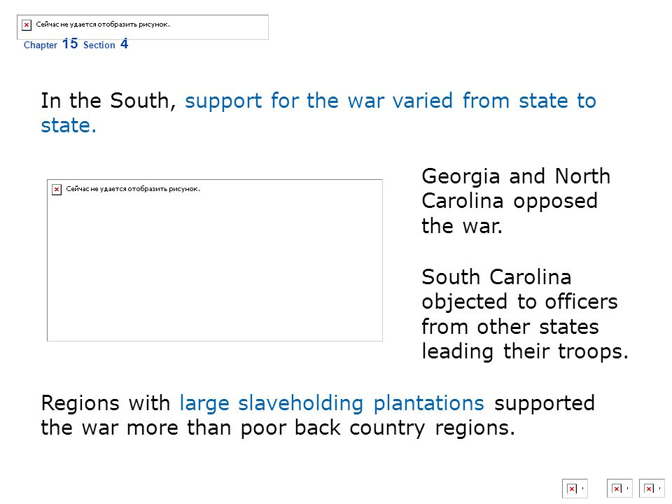 In the South, support for the war varied from state to state.