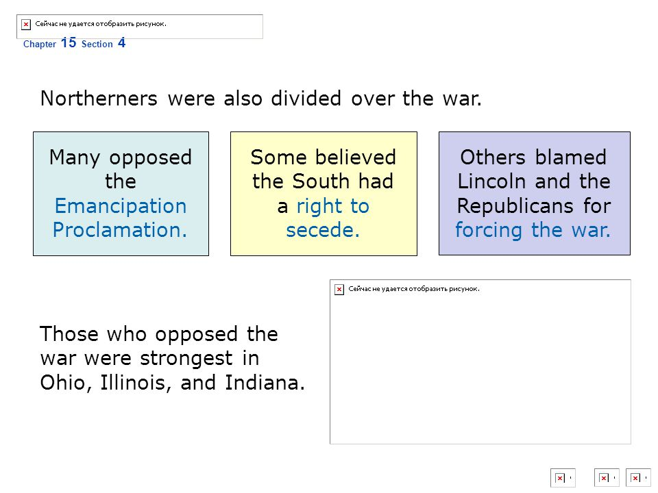 Northerners were also divided over the war.