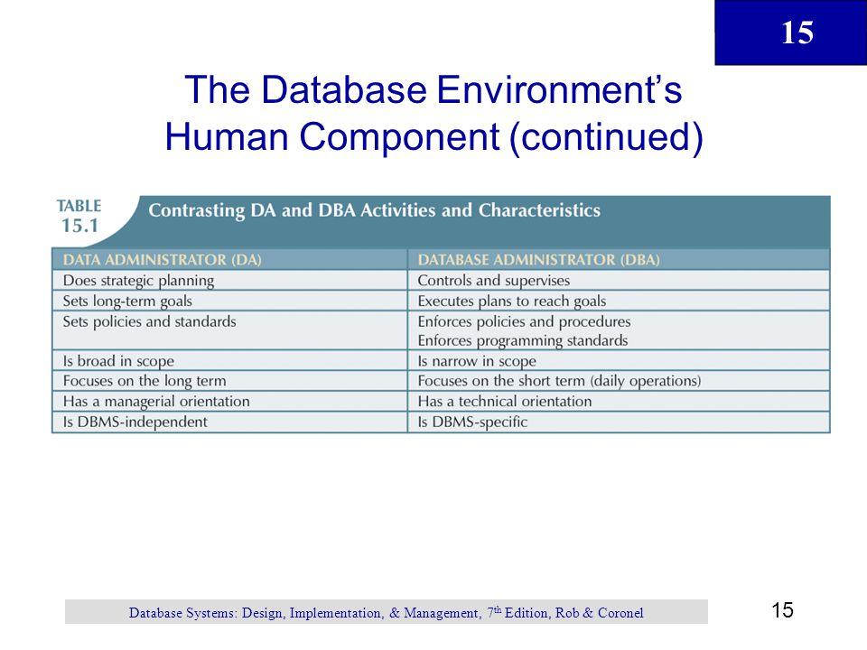 The Database Environment's Human Component (continued)