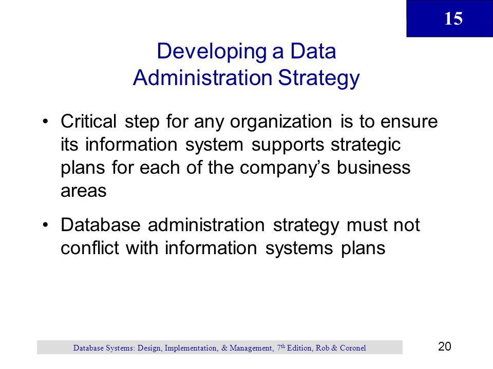 Developing a Data Administration Strategy