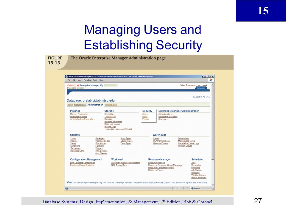 Managing Users and Establishing Security