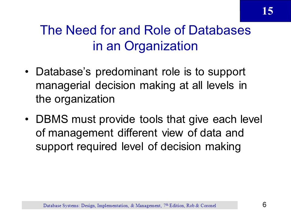 The Need for and Role of Databases in an Organization