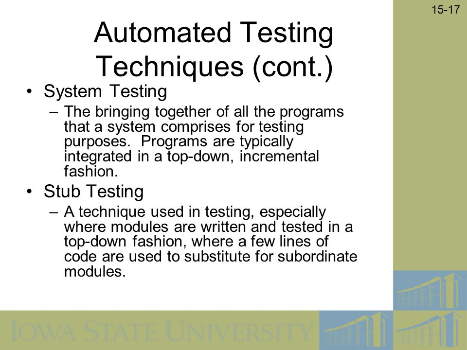 Automated Testing Techniques (cont.)