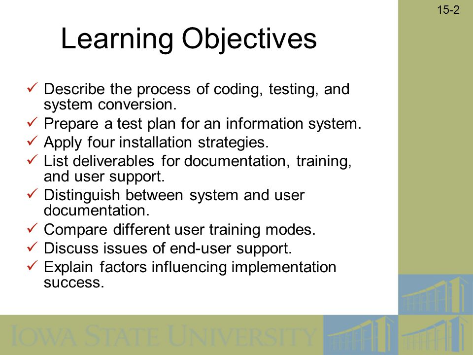 what are the deliverables from coding testing and installation System testing & implementation   the process of coding, testing and installation  apply four installation strategies list deliverables for documentation,.