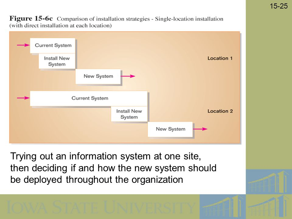 Trying out an information system at one site, then deciding if and how the new system should be deployed throughout the organization