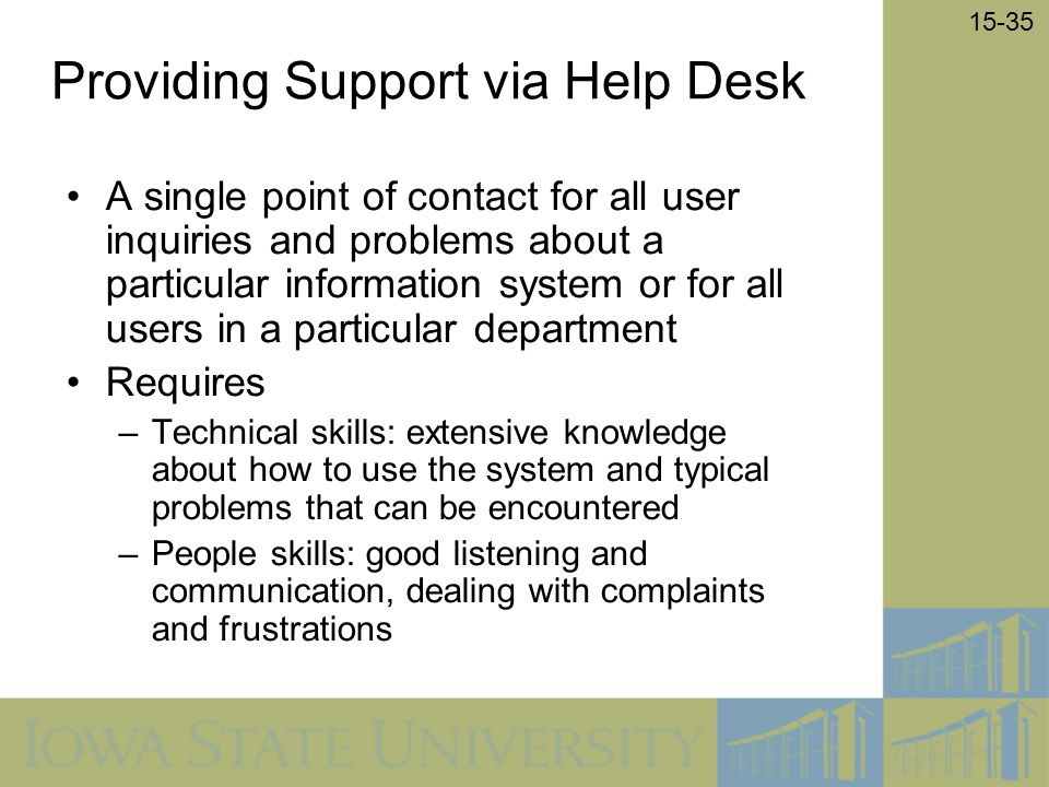 Providing Support via Help Desk
