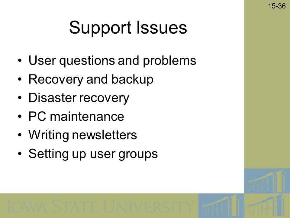Support Issues User questions and problems Recovery and backup
