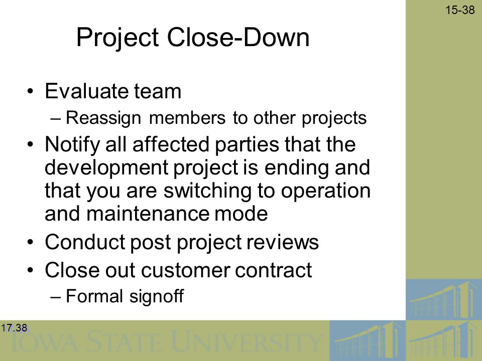 Project Close-Down Evaluate team