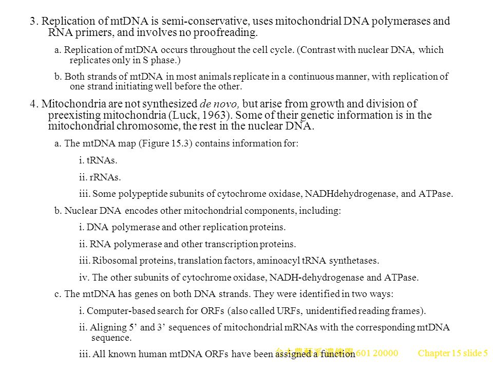 3. Replication of mtDNA is semi-conservative, uses mitochondrial DNA polymerases and RNA primers, and involves no proofreading.