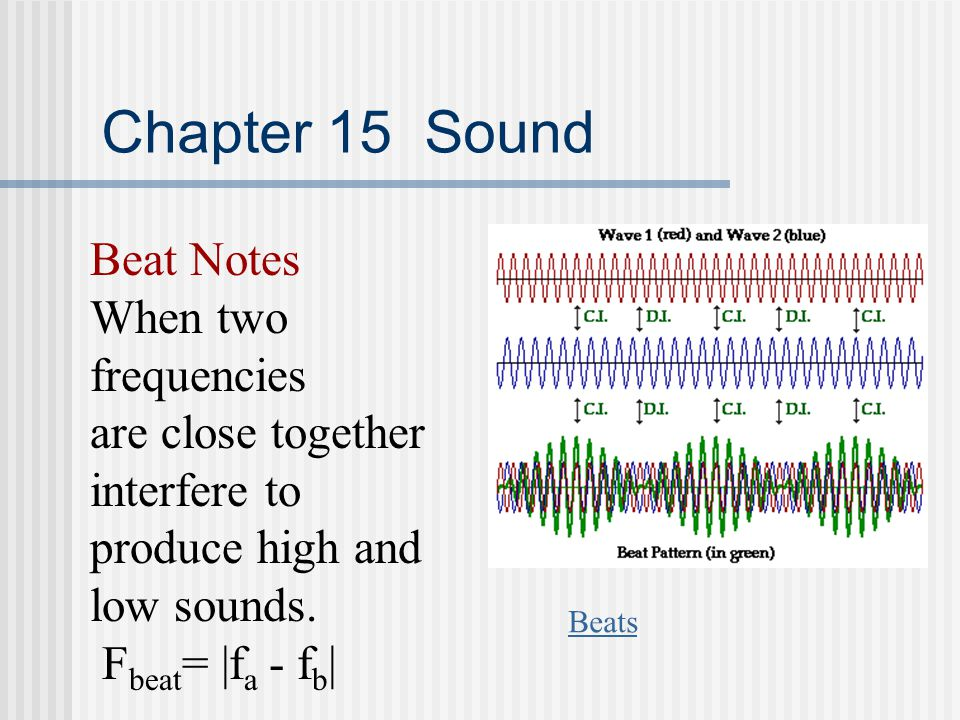 Chapter 15 Sound Beat Notes When two frequencies are close together