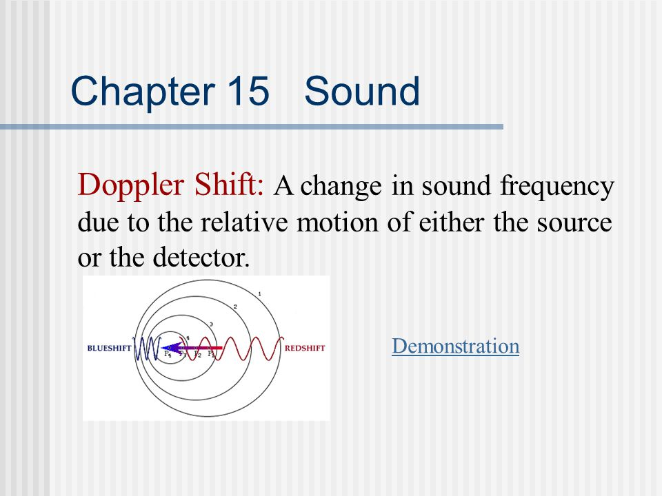 Chapter 15 Sound Doppler Shift: A change in sound frequency