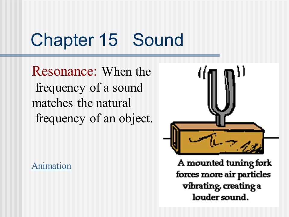 Chapter 15 Sound Resonance: When the frequency of a sound