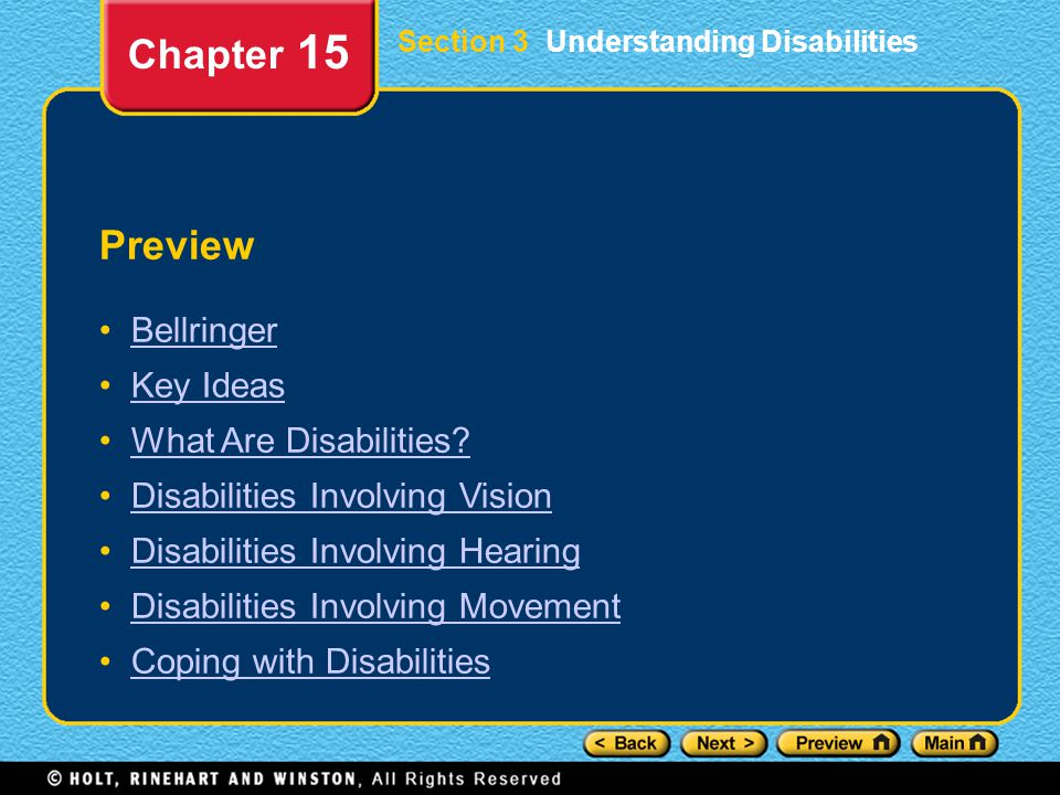 Chapter 15 Preview Bellringer Key Ideas What Are Disabilities