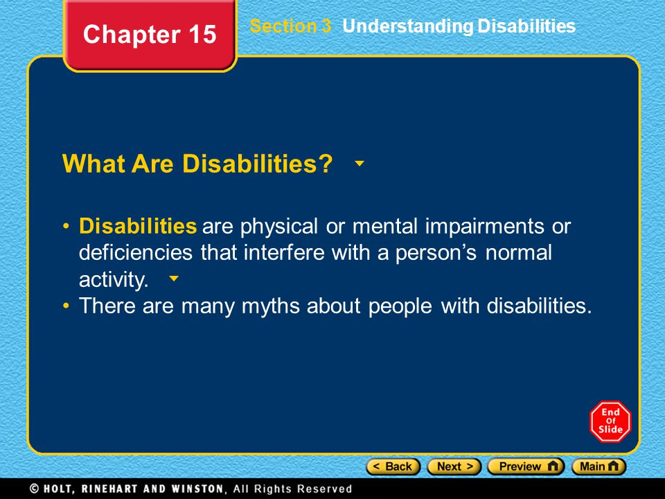 Chapter 15 What Are Disabilities