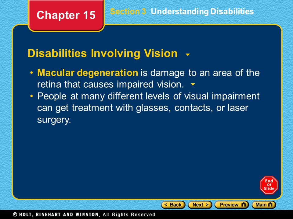 Disabilities Involving Vision