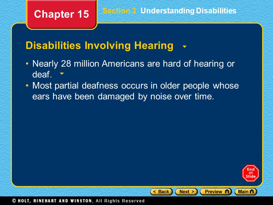 Disabilities Involving Hearing
