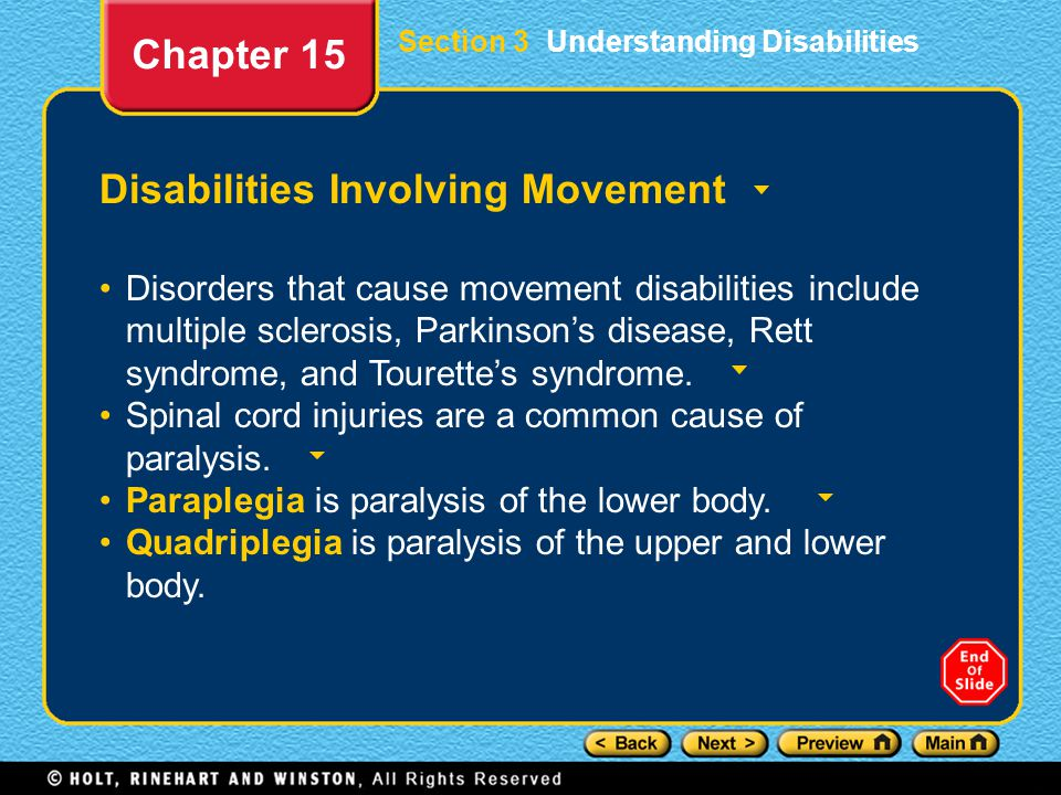 Disabilities Involving Movement