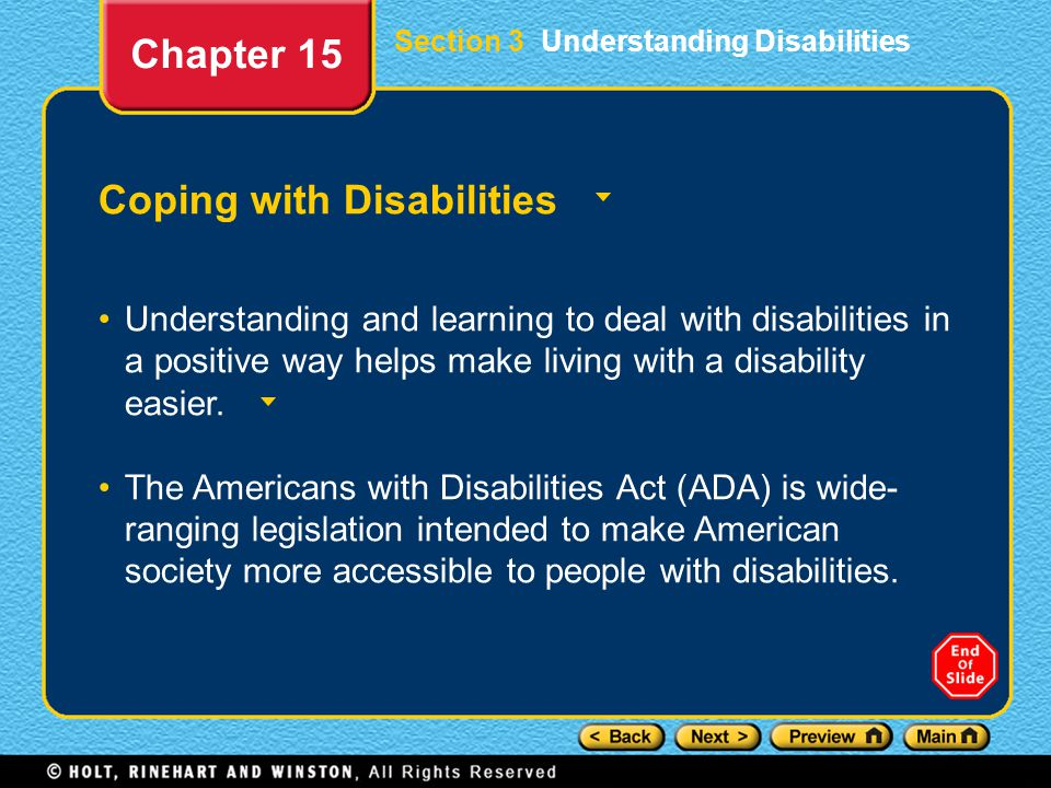 Coping with Disabilities