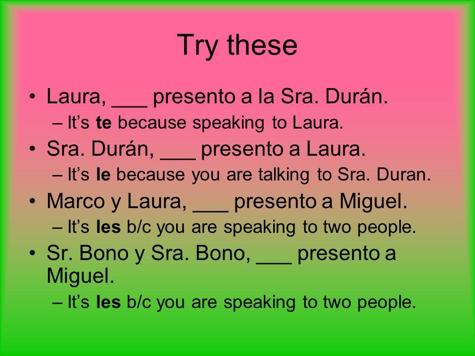 Try these Laura, ___ presento a la Sra. Durán.