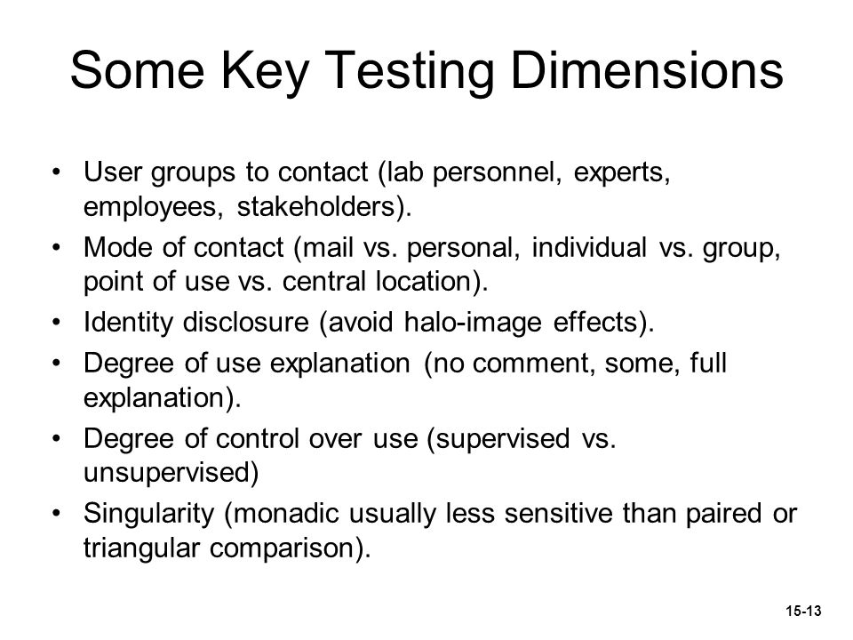Some Key Testing Dimensions