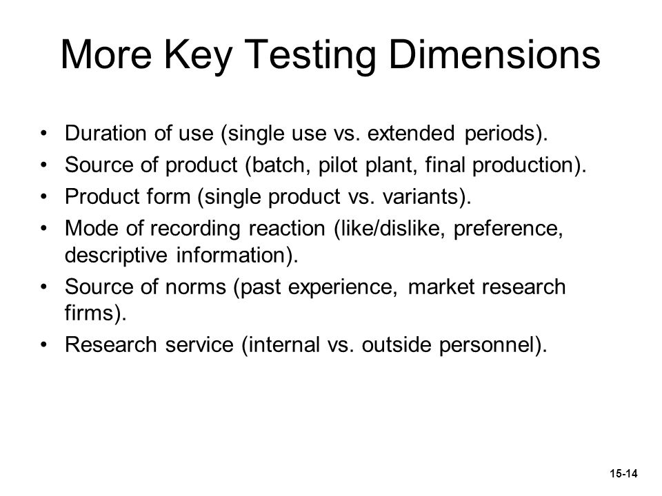 More Key Testing Dimensions