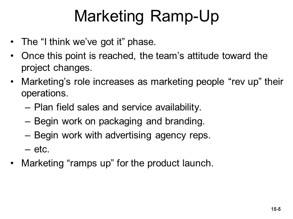 Marketing Ramp-Up The I think we've got it phase.