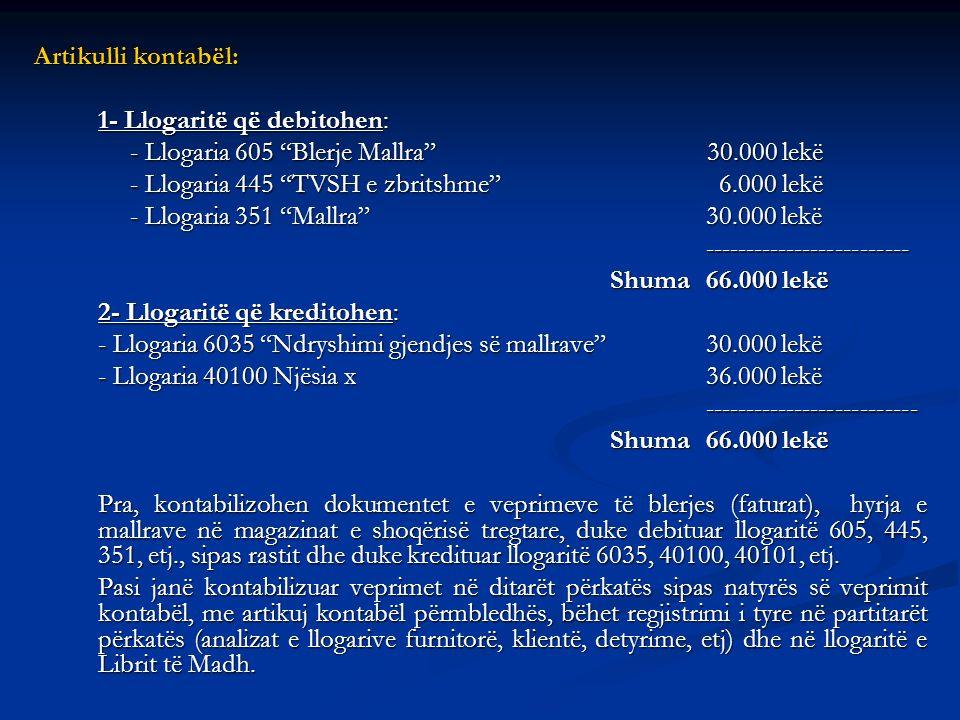 Artikulli kontabël: 1- Llogaritë që debitohen: - Llogaria 605 Blerje Mallra 30.000 lekë.