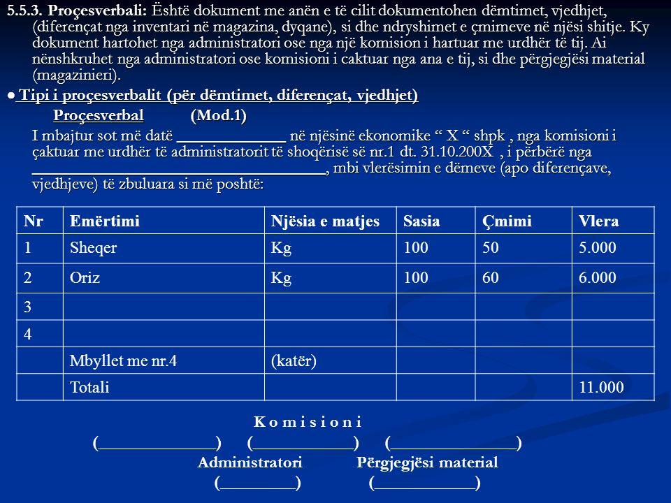  Tipi i proçesverbalit (për dëmtimet, diferençat, vjedhjet)