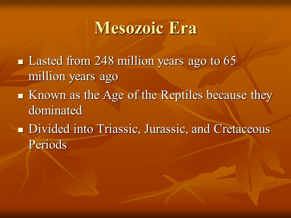 Mesozoic Era Lasted from 248 million years ago to 65 million years ago